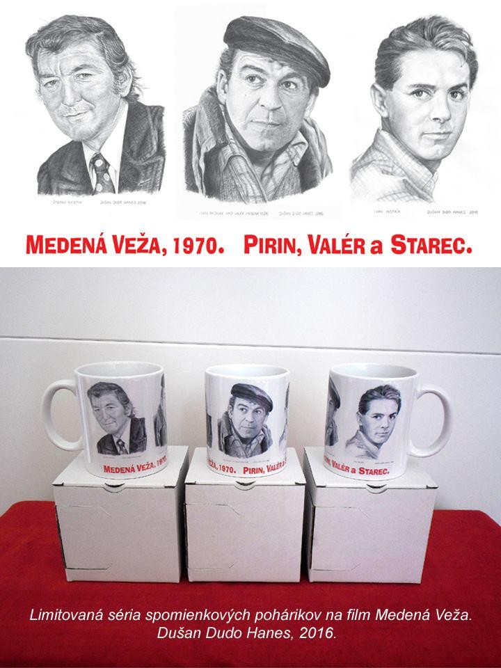 209 - Nepredajná séria spomienkových pohárikov na film Medená veža, 6 ks