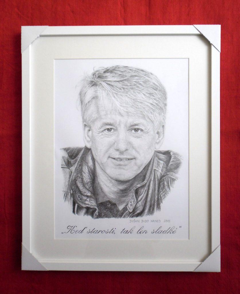 226 - Dar Emilovi Horváthovi ml. k 70-ke. Portrét v ráme, Dušan Dudo Hanes